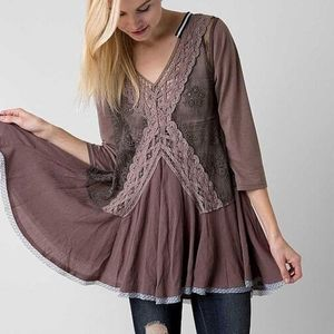 Gimmicks by BKE Embroidered Mesh Tunic Top (S)